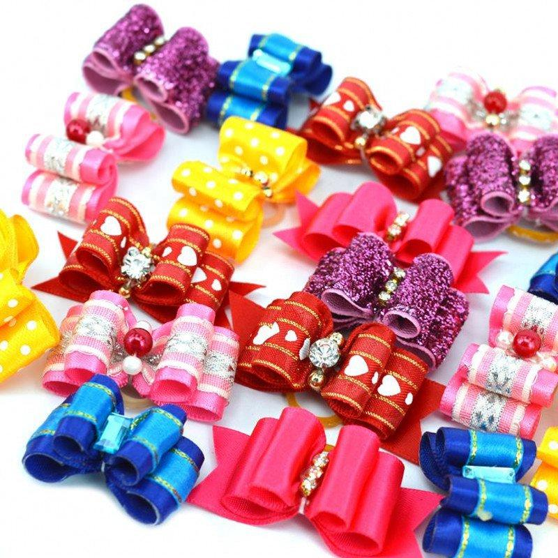 10 piece / set Pet Puppy Headdress Products Pets Fashion Hairpin Flower Hair Bows  Dog Grooming Accessories