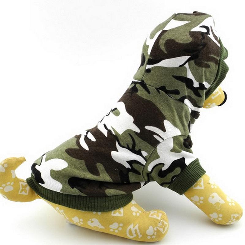 100% Cotton Small Dog Cat Clothes for Boys Puppy Camo Hoodie Pet Tee Shirt Green Sweatshirt for Dogs Size XS-S