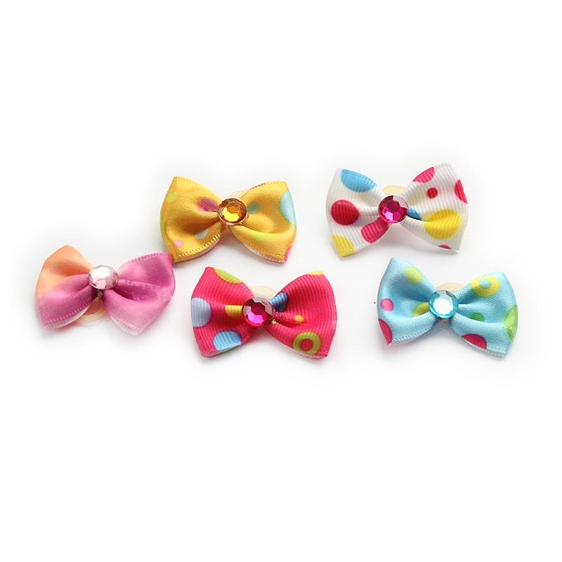 100 Pcs Handmade Accessories Cute Polka Dot Ribbon Dog Bow Grooming Bows For Dogs DB29014 Puppy Supplies Wholesale