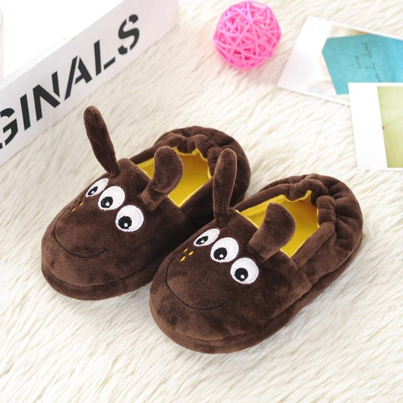 100%cotton children Slippers winter Cartoon dog Slippers boys girls home shoes warm cute kids shoes  winter soft indoor shoes