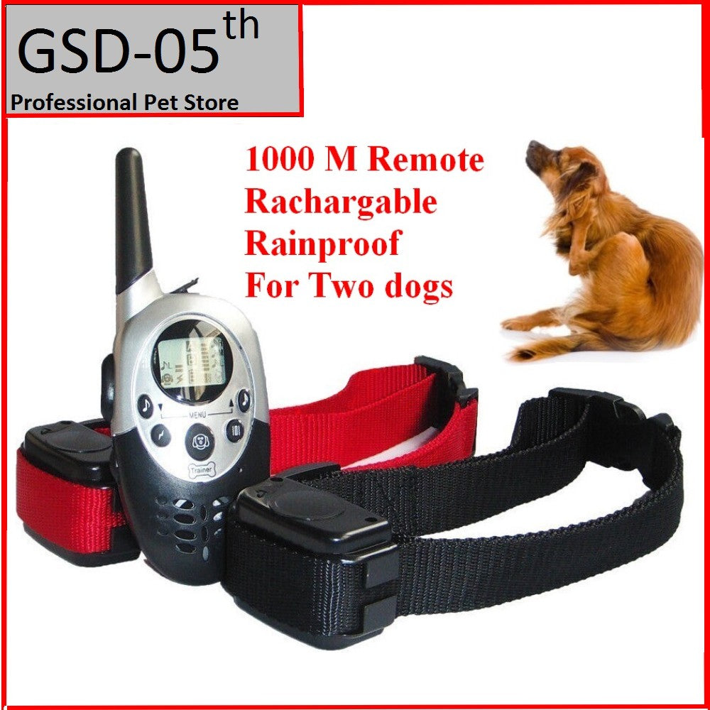 1000 M Dog Pet Training Collar for Large Medium Dog Rechargeable LCD Remote Electric Shock Vibrate Sound Dog Control for 2 Dogs