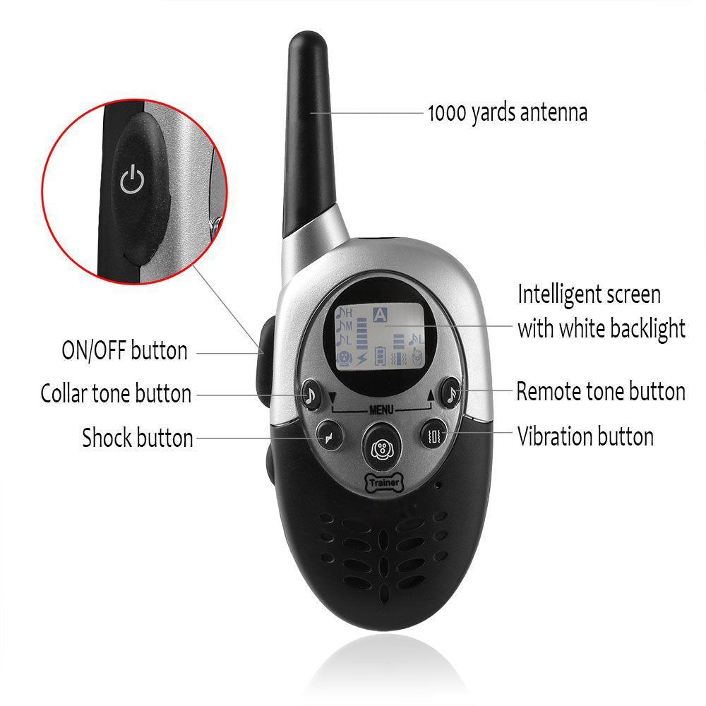 1000 Meters Waterproof Rechargeable Remote Dog Training Collar  Bark Stop Barking Collar With LCD Display for 2 Dog E-Collar