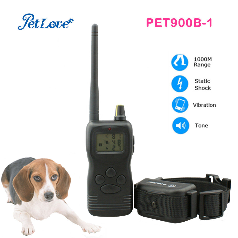 1000m remote control dog pet training collar with LCD display memory function multi dog training system waterproof & waterproof