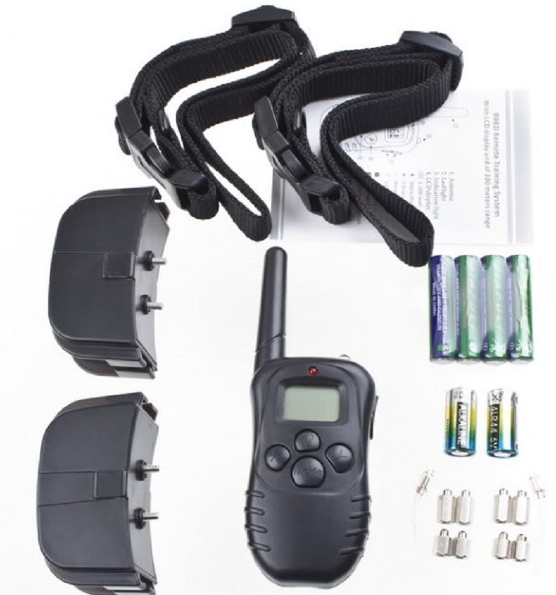 100LV Level 300meter Electronic Shock Vibra LCD Display Remote Control Pet Dog Training Collar 998D For 2 Dog