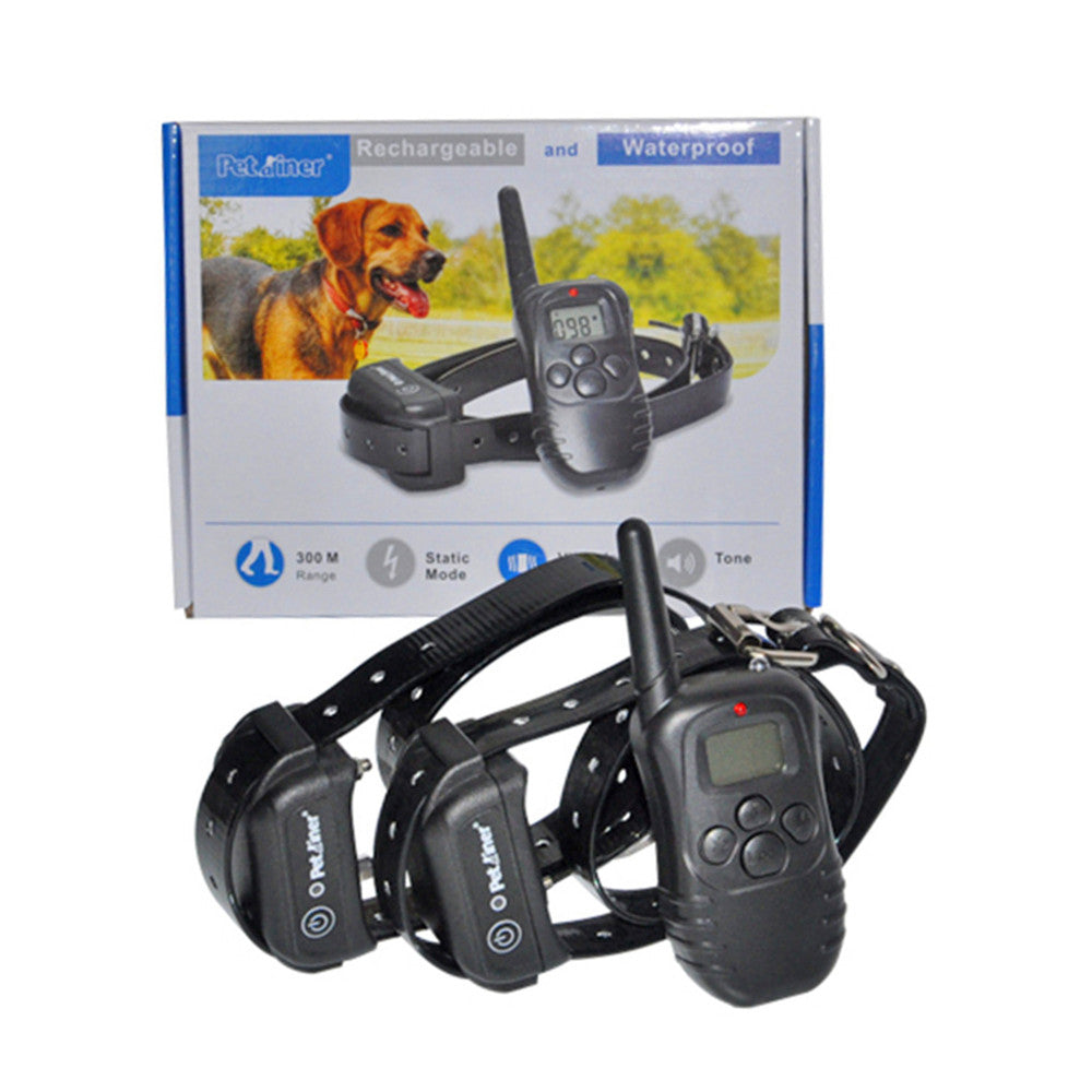 100LV Level Electric Shock Vibra Pet Dog Training Collar Waterproof And Rechargeable 300M Remote