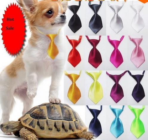 100PC/Lot Solid Colors Dog Ties Pet Neckties Adjustable Dog Bow Ties Pet Grooming Supplies 28Colors