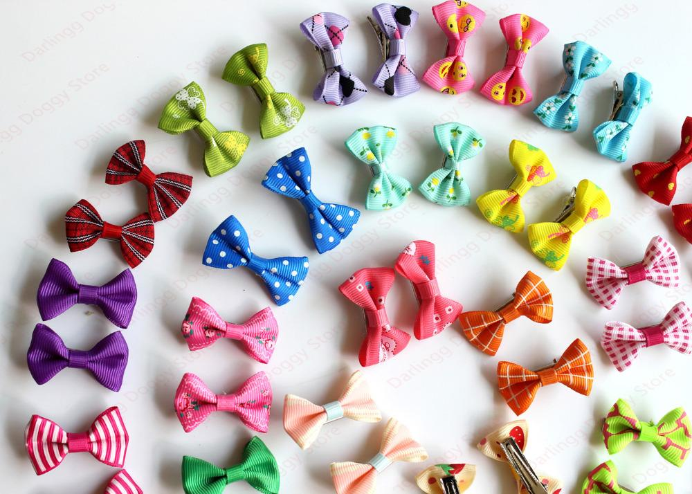 100pcs Pet Puppy Dog Cat Hair Bows with Clips Mixed Styles and Pairs Dog Grooming Accessories Dog Pet Supplies