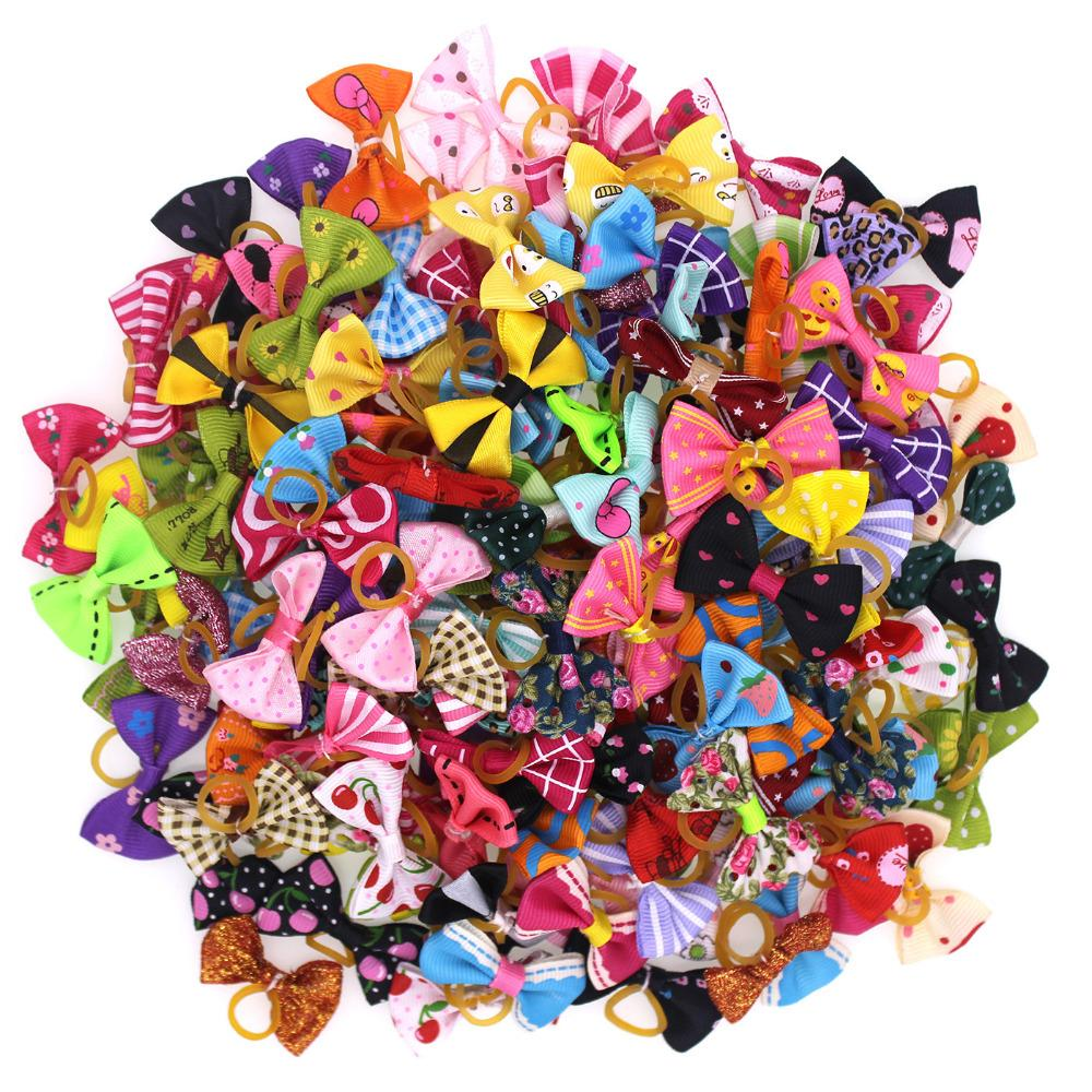 100pcs Pet Puppy Dog Cat Hair Bows with Rubber Bands Dog Grooming Accessory Dog Small Topknot Pet Supplies