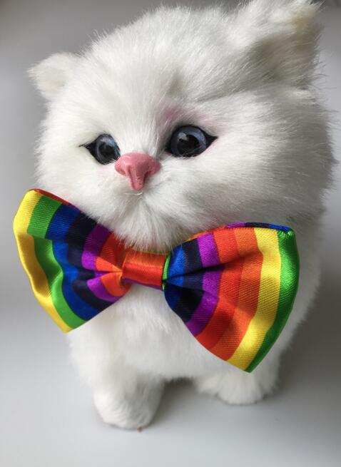 (100pcs/lot) Big sale Pet Dog puppy Cat Rainbow Bow Ties Grooming Supplies for wedding party holiday Valentine LY1210