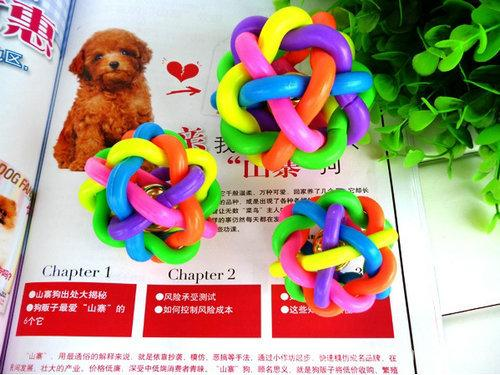 10PCS/LOT 3006# Wholesale Pet Product Dog Supplies Rainbow Ball Colorful Ball With Bell Rubber Toy Hot Sale