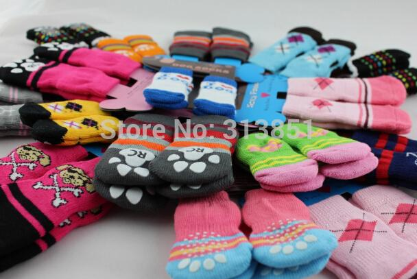 10Packs/Lot Pet Products Supplies Dog Socks Boots Shoes Cute Warm Indoor Anti-slip Skid-resistant More Colors Free Shipping