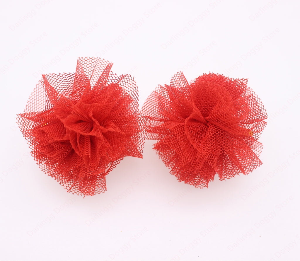 10pcs/5pairs Nice Pet Puppy Dog Cat Hair Bows Lace Flower Ball Dog Hair Accessoris Dog Grooming Pet Supplies