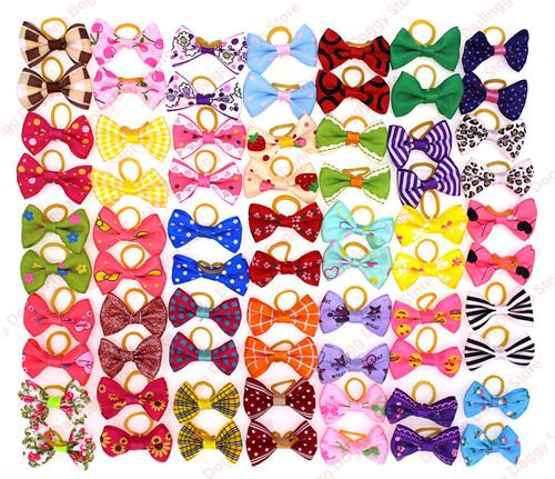 10pcs/5pairs Pet Puppy Cat Dog Hair Bows with Rubber Bands Dog Grooming Accessory Dog Choose Patterns Pet Supplies