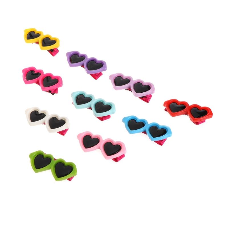 10pcs Colorful Pet Dog sun glasses hair clips Cute Doggy Puppy hairpin grooming supplies teddy hair accessory Cat Hair Ornaments