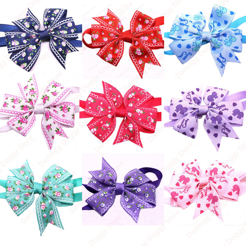 10pcs New Pet Puppy Dog Cat Bowtie Adjustable Flower Patterns Ribbon Collars Pet Dog Bow ties Dog Accessory Pet Supplies