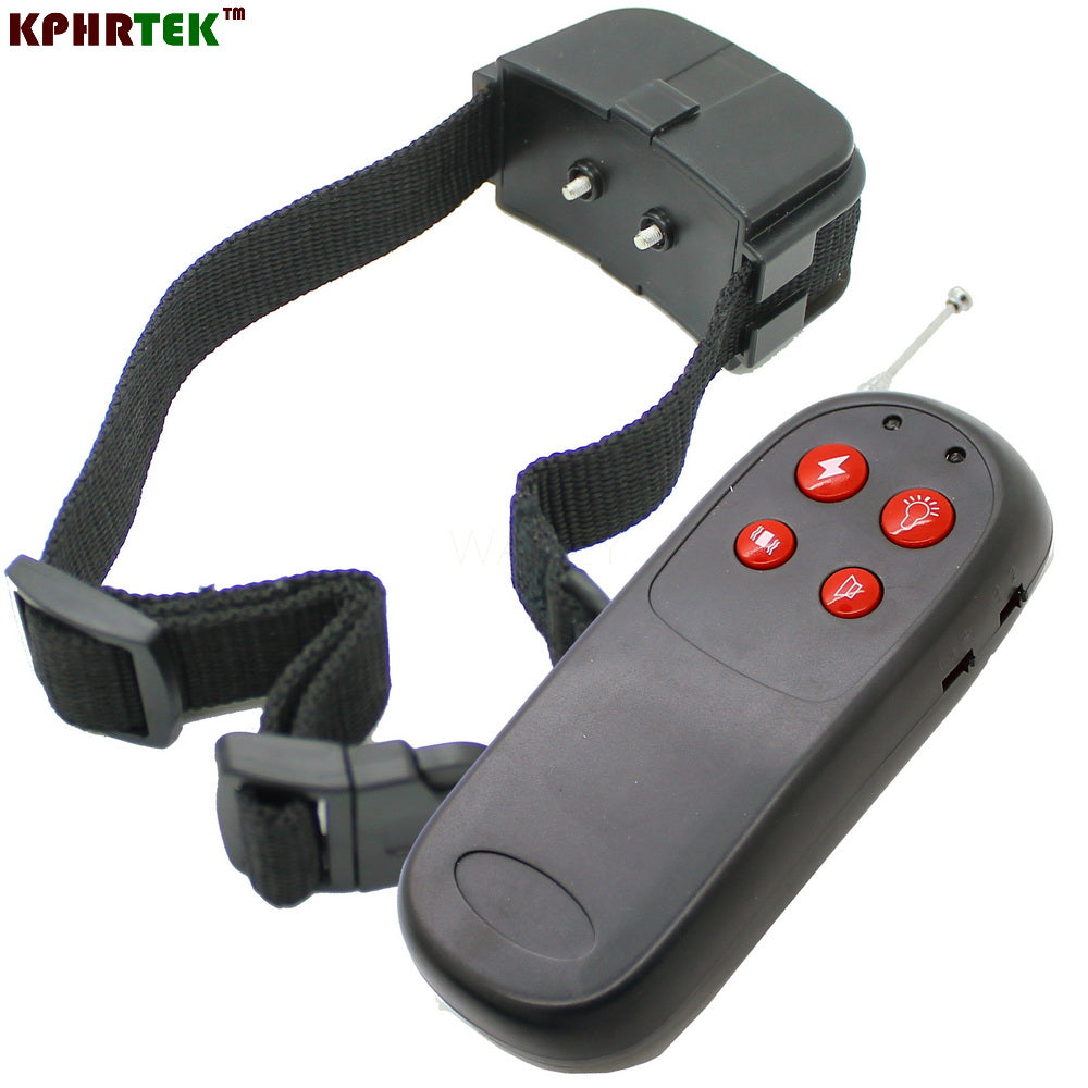 10pcs/lot NEW 4 in1 vibration+static+3 level whistle +led Remote control dog training devices collar for dogs&pets