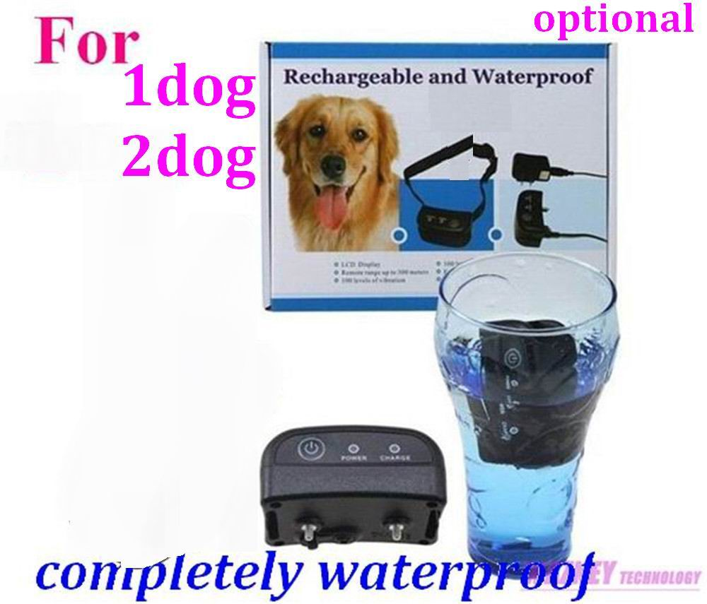 10set/lot * 300M Completely Waterproof and Rechargeable LCD 100LV Level Shock Vibrate Remote Dog Training Collar (for 2 dog)