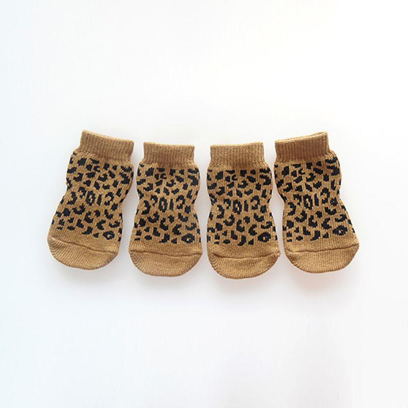 11 Styles 4pcs Pet Dog Knitted Shoes Pattern Non-slip Socks Paws Cover Shoes Size S M L XL