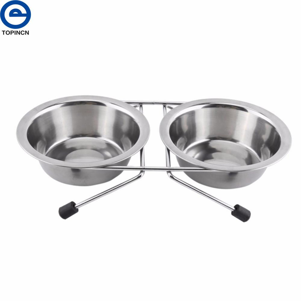 11cm Stainless Steel Double Dog Bowl Diner Dish Puppy Cat Rabbit Feeder Water Bowl For Cat Puppy Dog Food Water Drink