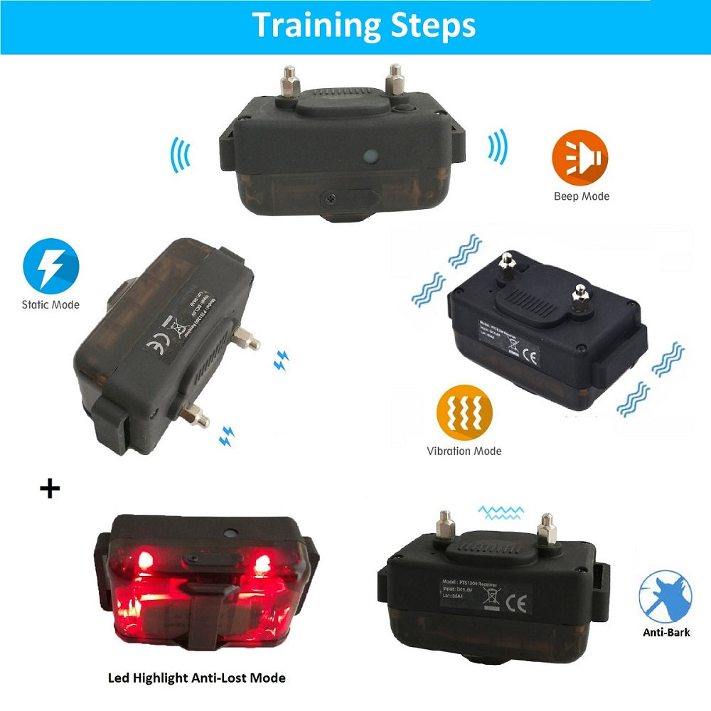 1200M Hunting Dog Shock Collar Training Anti-Bark Collar With Remote Rechargeable Beep Vibration Waterproof Static Pets E-Collar