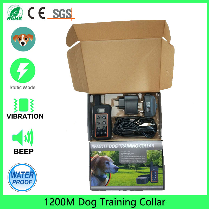 1200m Dog Training Collar Rainproof Rechargeable LCD Shock Collar, 10 Level Vibration Static Shock