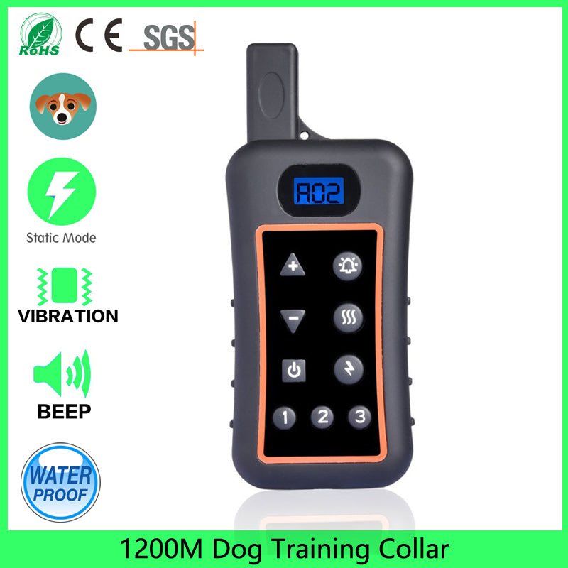 1200m Waterproof Rechargeable Remote Training Dog Collar with Beep, Vibration and Electric Shock