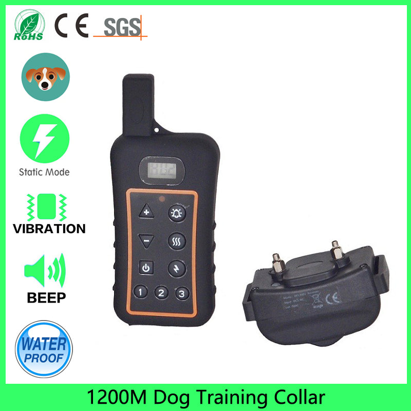 1200yard Rechargeable and Waterproof Remote Dog training Collar with Beep, Vibration and Light Electronic Collar