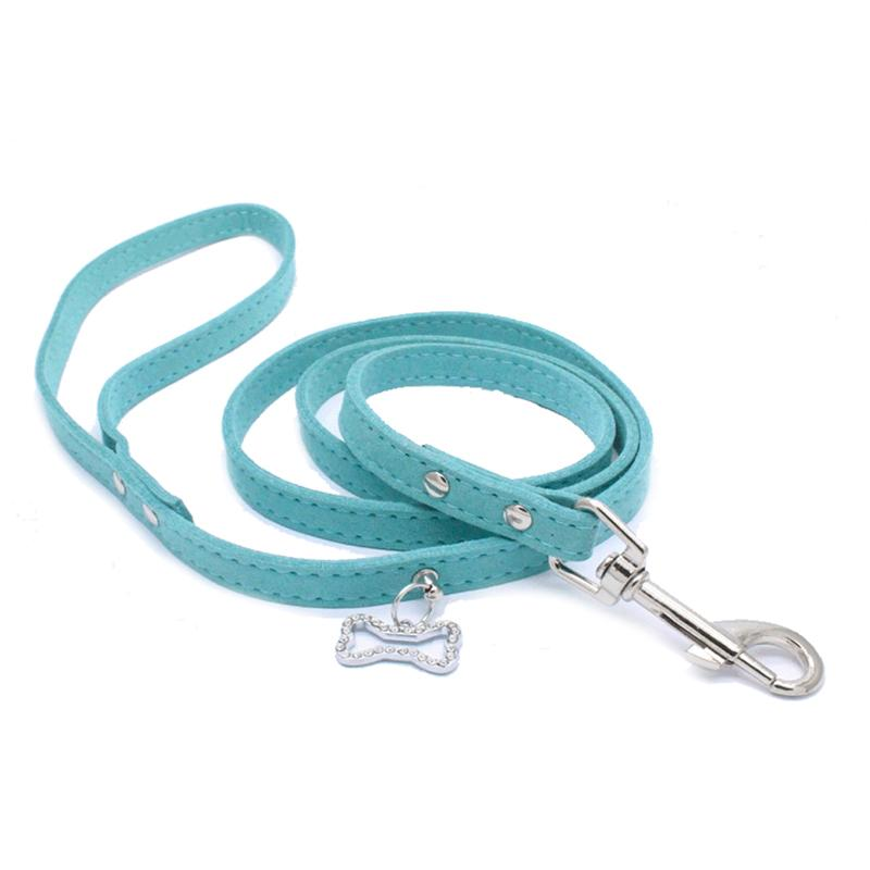 120cm Suede Leather Dog Leash Soft Puppy Cat Walking Leads With Rhinestone Bone Pendant Small Pet Supplies Outdoor Leashes