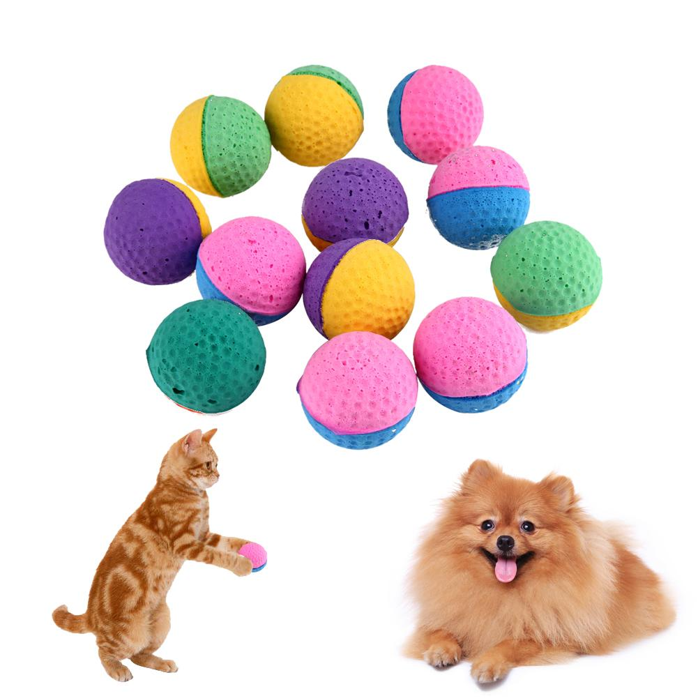 12Pcs/pack Colorful Cat Toys Soft Latex Feathered Ball Toys for Cats Kitten Puppy Dog Pet Chew Toys Product For Cats