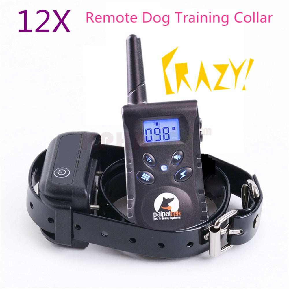 12pcs/lot Remote Control Dog Training Collar with Backlight Screen and key Controler Waterproof Swimming receiver collar