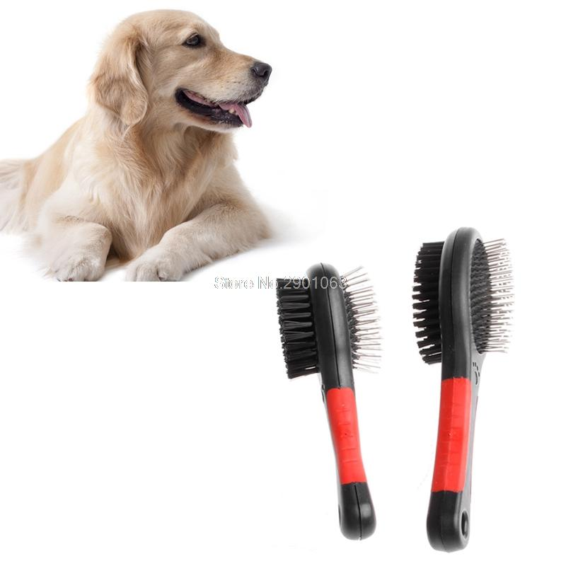 1PC Double Faced Pet Dog Hairs Comb Brush Plastic Handle Puppy Cat Massage Bath Brush Multifunction Pet Grooming Tool #080925#