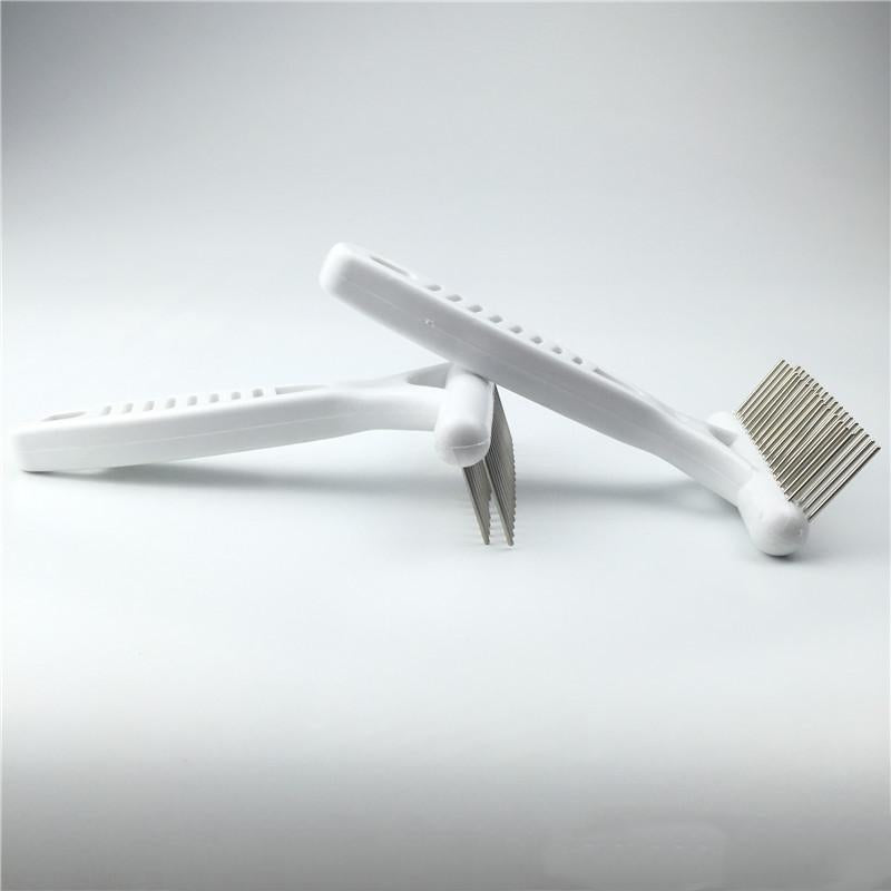 1PC Fancy Pet Care Dogs Comb White Double Row Stainless Steel Rake Comb Double Pin White Grip Handle Brush