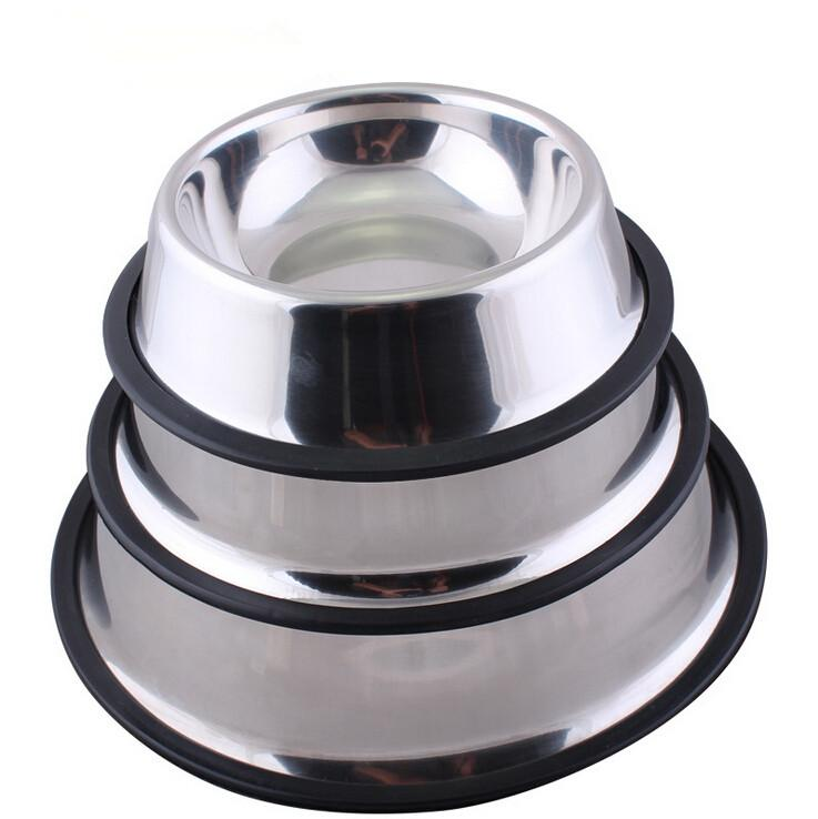 1PC Hot Newest Dog Feeders Stainless Steel Standard Pet Dog Puppy Cat Food or Drink Water Bowl Dish 4 Sizes