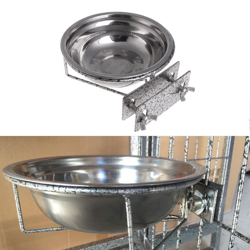 1PC Omni Pet Stainless Steel Coop Cup Food Water Bowl For Dog Parrot Bird Cage Crate W215