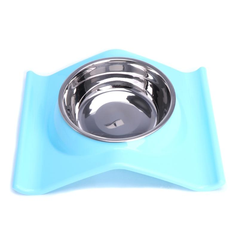 1PC Stainless Steel Pet Dog Bowl Cat Feeding Food Single Bowl Dish Raised No Slip Stand