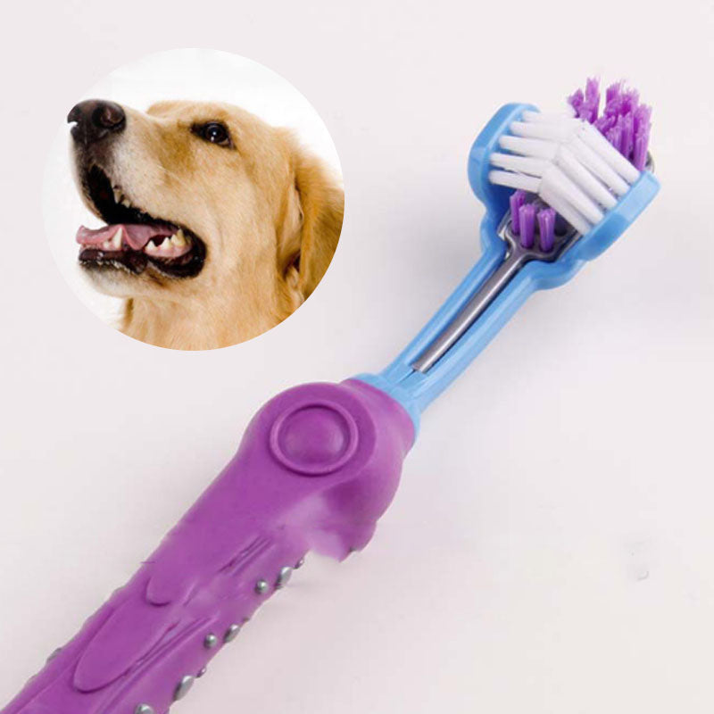 1PC Three Sided Pet Toothbrush Dog Brush Addition Bad Breath Tartar Teeth Care Dog Cat Cleaning Mouth 7A102201