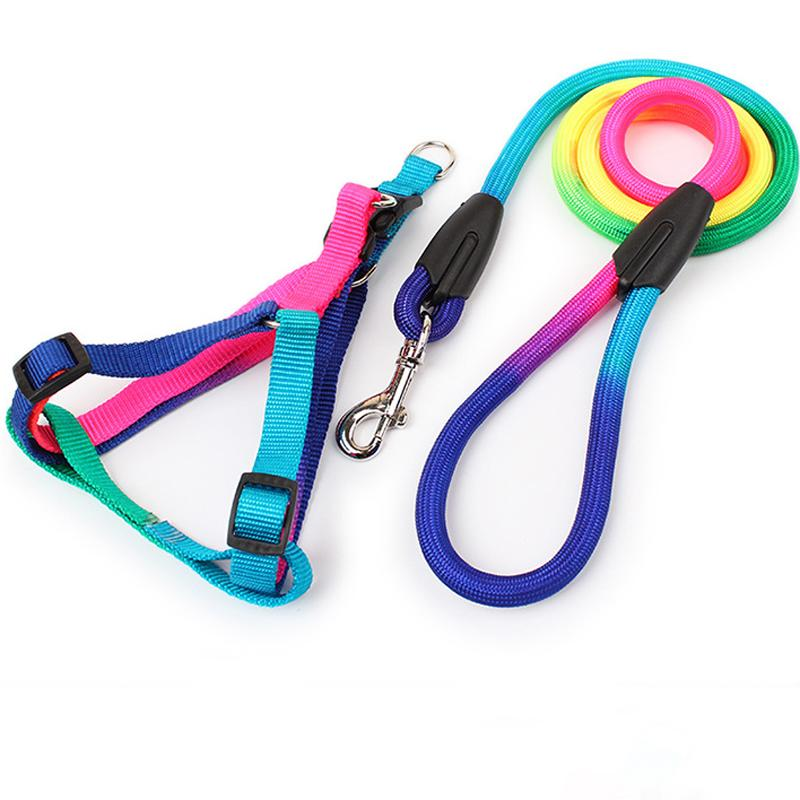 1Pc Nylon Pet Dog Strengthen Colorful Leashes Pet Puppy Lead Harness Leash Traction Rope Pets Trainning Supply Dog Collar