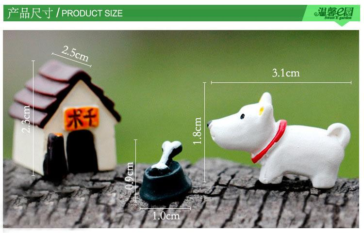 1Pcs Dog House Set DIY Resin Fairy Garden Craft Decoration Miniature Micro Gnome Terrarium Gift F0187