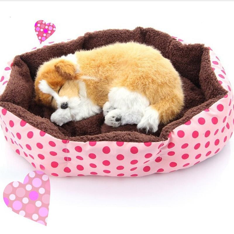 1Pcs Dog Puppy Cat Soft Dot Warming Bed Warm House Plush Mat Warm Winter Nest for Pet Products 4 Colors