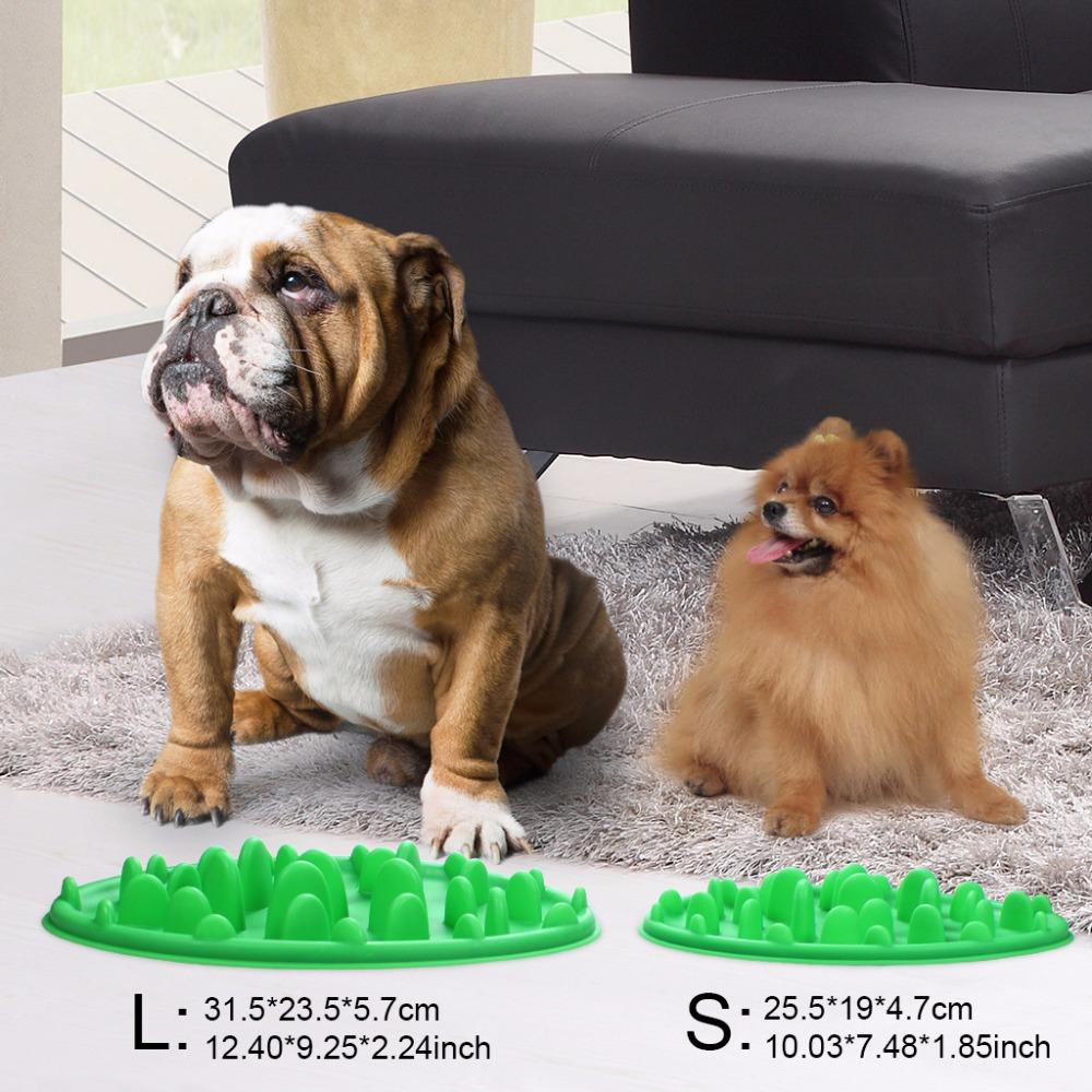 1Pcs Dog Slow Feeder Food Bowl Pet Feeding Slicone Green Interactive For Dog Anti Choke Slip No Gulp