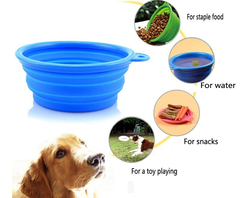 1Pcs Folding Silicone Pet Bowl For Both Food and Water Portable Travel Dog and Cat Bowl Free Carry Hanging Hook camp pet jars