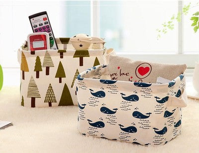 1Pcs Linen Cartoon with Handle Desktop Litter Basket Storage Box Small Cabinet Cloth Clothing Containing Storage Gadgets