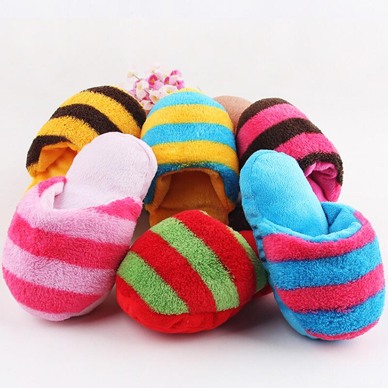 1Pcs Pet Puppy Sound Chew Toy Shoes Fad Dog Toy Slipper Pet Play Squeaker Plush Slippers Stripe Bread Shape Stuffed Dog Shoes