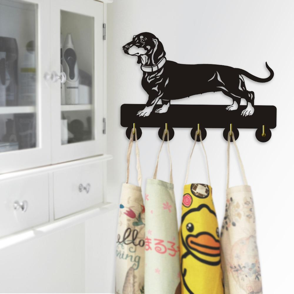 1Piece Dachshund Dog Wall Door Wall Hook Hanger Animals Handbag Coat Bathroom Kitchen Toilet Retro Holder Gift For Dog Lover
