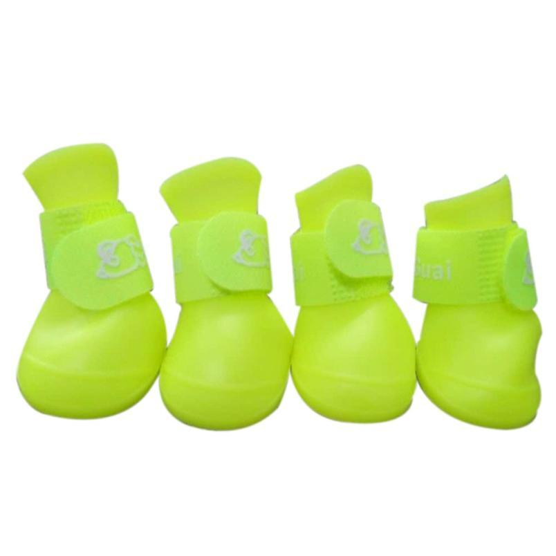 1Set 8 color Dog Candy Colors Boots Waterproof Rubber Pet Puppy doggy Rain Shoes Booties for small dog sneakers design 2018 hot
