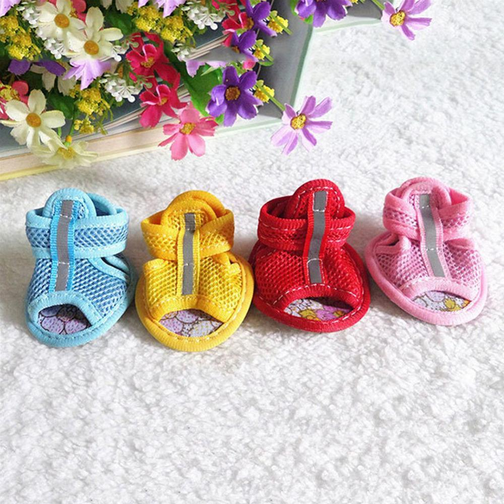 1Set  Hot Sale Casual Anti-Slip Small Dog Shoes For Cute Pet Shoes Summer Breathable Soft Mesh Sandals Candy Colors