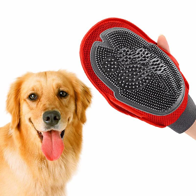 1pc Dog Cat Hair Comb Cleaning Brush Comb Animal Massage Hair Removal Dog Bath Glove Red Pet Grooming Products KO893016