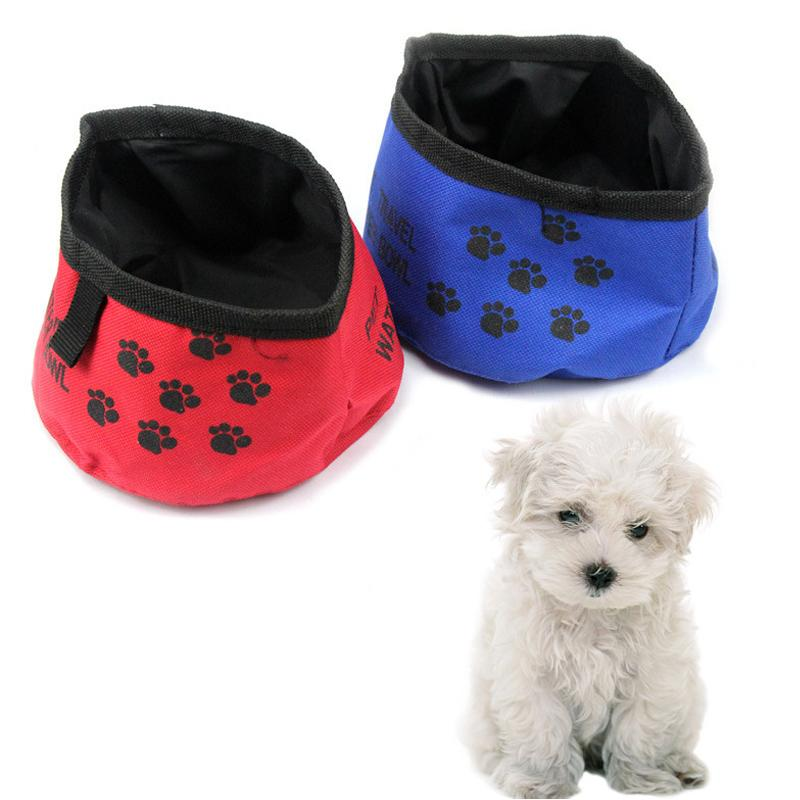 1pc Portable Collapsible Pet Outdoor Travel Food Dish Bowl Pet Travel Food Container Bags Dog Cat Waterproof Cloth Feeding Bowl