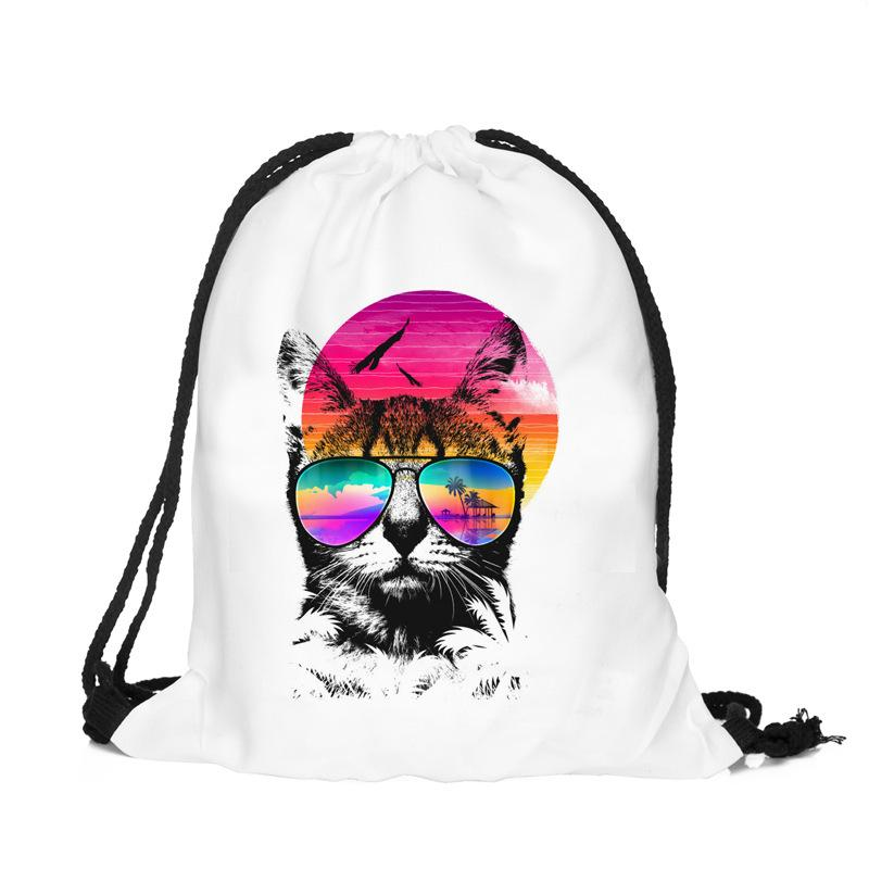 1pcs 30x39cm Skull Dog Pattern Storage Bag Women Men Drawstring Travel Beach Backpack Bag Toys Shoes Clothes Organizer 49152
