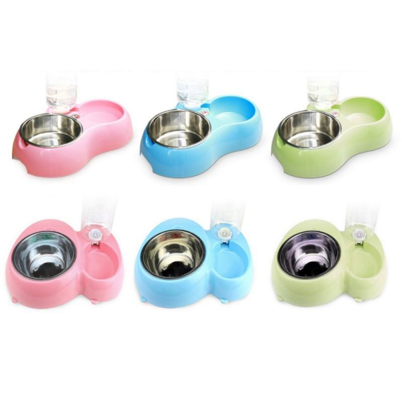 1pcs 400ml/800ml  Dual Port Dog Automatic Water Dispenser Feeder Utensils Bowl Cat Drinking Fountain Food Dish Pet Bowl
